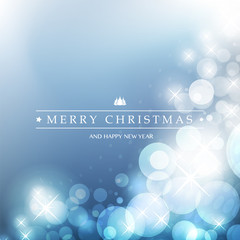 Colorful Happy Holidays, Merry Christmas Greeting Card with Label on a Sparkling Blurred Background