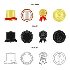Isolated object of emblem and badge icon. Collection of emblem and sticker vector icon for stock.