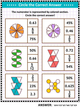 Math skills and IQ training visual puzzle or worksheet for schoolchildren and adults. Circle the correct answer. Find the number equivalent for each pictorial fraction representation.