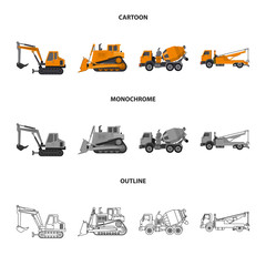 Vector design of build and construction symbol. Collection of build and machinery stock vector illustration.