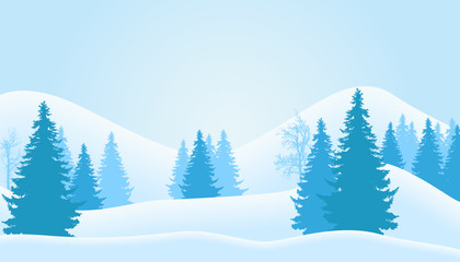 Vector illustration of mountain winter landscape with snow, coniferous forest and trees without leaves, under a blue cool sky