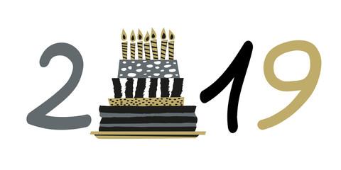 Carte de vœux 2019 présentant un gâteau stylisé avec des bougies pour fêter un anniversaire.