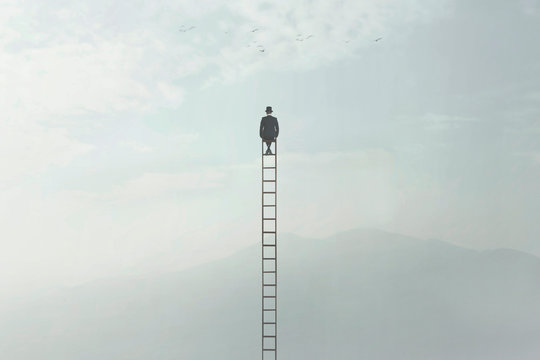 surreal image of a man who is sitting on a very high ladder in the middle of nature