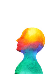 human head mind spirit brain energy  power abstract art watercolor painting illustration design hand drawn