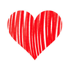 Abstract bright red heart on white