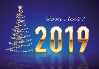 Classique carte de vœux 2019 avec le traditionnelle sapin de noël, fait avec une guirlande dorée pour souhaiter la bonne année.