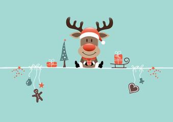 Card Reindeer & Symbols Retro
