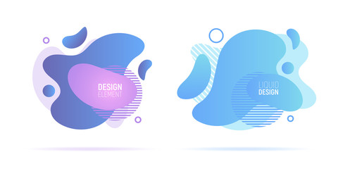 Modern liquid abstract geometric shapes. Futuristic trendy dynamic fluid elements. Abstract gradient shapes. Vector illustration.
