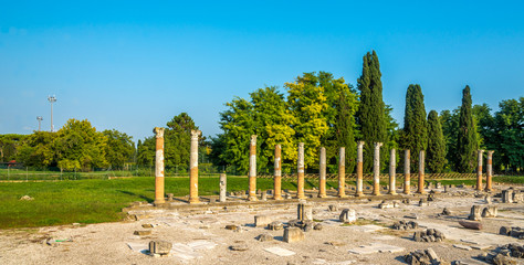 View of the archaeological area of Aquileia in Italy