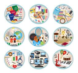 Education subjects - Round icon set