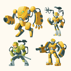 Vector cartoon set with androids, human soldiers in robotic combat exoskeletons with guns isolated on background. Battle robot with weapon, cyborg humanoids. Characters for computer games