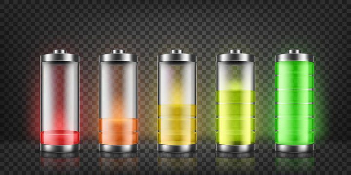 Vector set of battery charge indicators with low and high energy levels isolated on background. Full charged and discharged accumulators with colorful glow. Icons for gadget interfaces, mobile apps