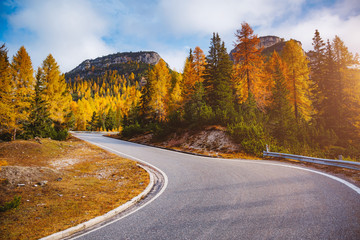Wall Mural - Stunning image of the alpine road. Location place National Park Tre Cime di Lavaredo.