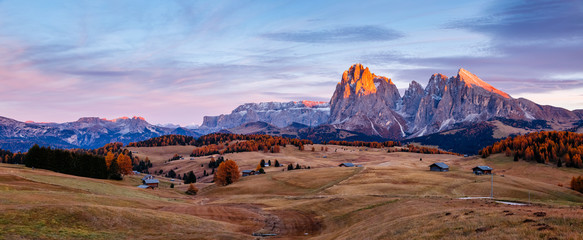 Wall Mural - Scenic image of bright hills. Location Seiser Alm or Alpe di Siusi, South Tyrol, Italy.