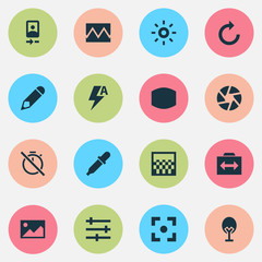 Image icons set with wide angle, automatic, refresh right and other no timer  elements. Isolated vector illustration image icons.