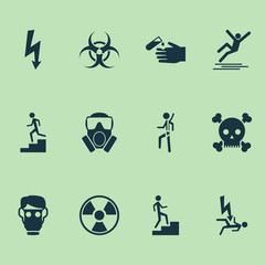 Sign icons set with corrosive chemical, poison, icy surface and other mask  elements. Isolated vector illustration sign icons.