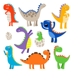 Cute dinosaurs. Baby cartoon smiling dinosaur animals isolated on white background, vector illustration