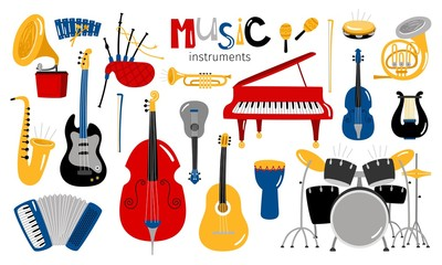 Cartoon musical instruments. Music instrument vector icons, entertainment instrumentation collection isolated on white background Wall mural