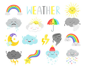Fototapeta Cute weather. Cartoon weathers illustration items for kids, sunny clouds and happy sun face, moon and tornado isolated on white, vector illustration