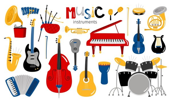 Cartoon musical instruments. Music instrument vector icons, entertainment instrumentation collection isolated on white background