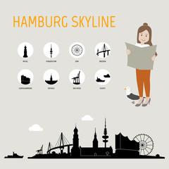 Hamburg Skyline schwarz