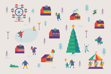 Christmas market and holiday fair pattern.  Winter and holiday activities. Flat vector illustration.