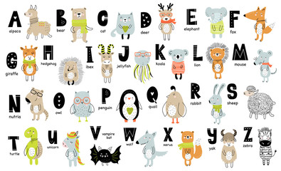 Vector poster with letters of the alphabet with cartoon animals for kids in scandinavian style
