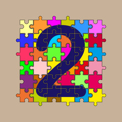 number 2 is composed of pieces of color puzzles