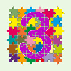 number 3 is composed of pieces of colored puzzles