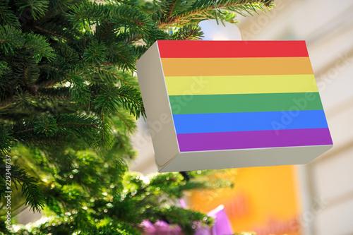 Lgbt Rainbow Flag Printed On A Christmas Gift Box Printed Present