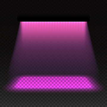 Grow light effect vector illustration, LED or light emitting diode plant illumination system efficient in photosynthetic active radiation range, blank grow box design element or template