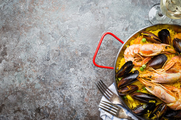 Traditional seafood paella