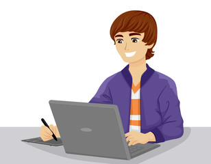 Teen Guy Graphic Artist Illustration