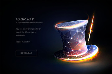 Magic hat. Polygonal wireframe art isolated on black backgraund. Concept illusionist's Magic hat or show. Polygonal illustration with connected dots and polygon lines. 3D vector wireframe mesh