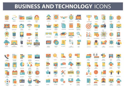 Business and marketing, programming, data management, internet connection, social network, computing, information. Thin line blue icons set. Flat vector illustration