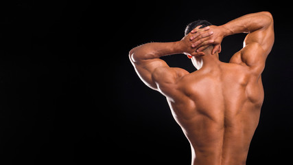Muscular back and sexy torso of young man. Perfect back muscles and biceps