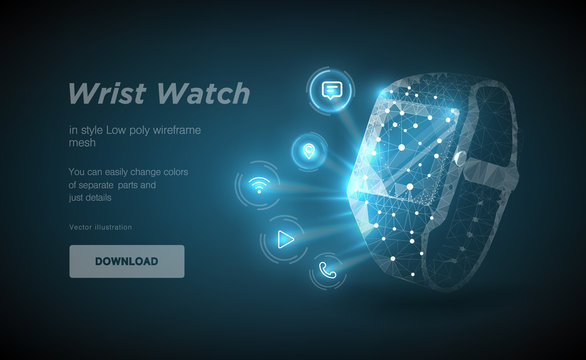 Wristwatch low poly wireframe art on black backgraund. Presentation of smart clock functions in the form of a starry sky. Polygonal illustration with connected dots and polygon lines. 3D vector wirefr