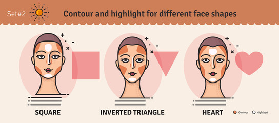 Set 2.Contouring and highlight makeup guide. Vector set of different types of woman face. Various makeup for woman face. Vector illustration.
