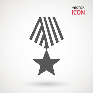 Military reward medal icon, vector sign, pictogram isolated on white. Symbol, logo illustration