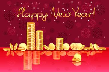 New Year banner card with the image of gold coins laid out in piles on a glass table, on a burgundy background with snowflakes.