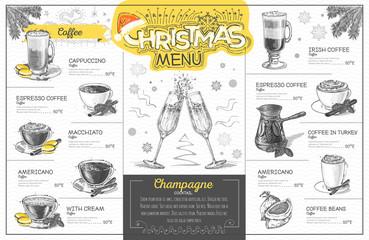 Vintage holiday christmas menu design with champagne. Restaurant menu