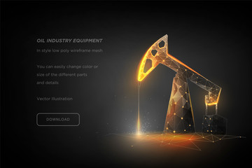 Oil pump low poly wireframe art on dark background. Oil industry equipment. Oil rig. Industrial equipment. Polygonal illustration with connected dots and polygon lines. 3D vector wireframe mesh