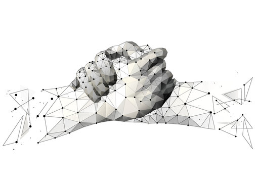 Abstract mash line and point brotherly handshake origami on white background. Agreement Starry sky or space, consisting of stars and the universe . Vector business illustration of deal.