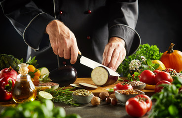 Chef preparing healthy vegetarian cuisine