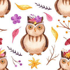 Watercolor seamless pattern with owl, branches, flowers, leaves. Texture for wallpaper, scrapbooking, children's design, packaging.