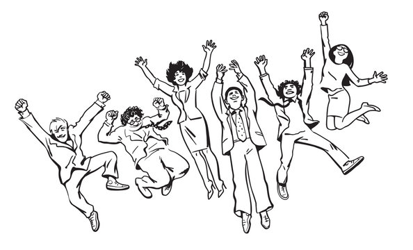 Group of friends have fun, jump, dance and fool around. Hand drawn vector illustration in sketch style.