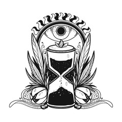 Vector illustration of the hourglass. The drawing of the time. It can be used for printing on t-shirts, cards, or used as ideas for tattoos, stickers, covers.