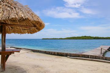 Belize, Beach, Sonnenschirm, Mangroves, Jetty