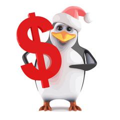 Vector 3d Santa penguin holding a US Dollar symbol