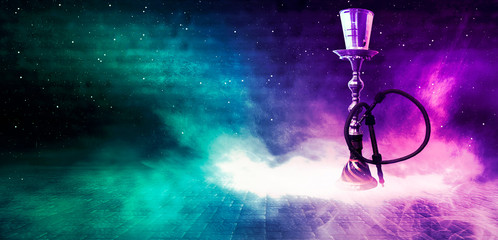 Fotomurales - Hookah smoking on a dark concrete background, neon light, smog, night, rays